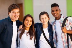 group of cheerful high school students portrait