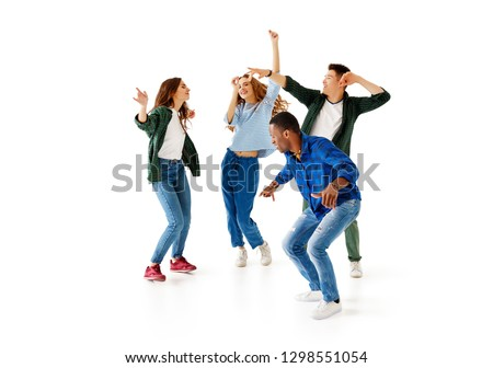 group of cheerful young people men and women multinational isolated on white background #1298551054