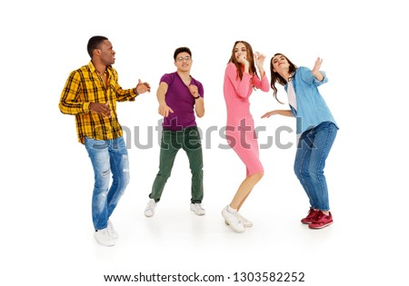 group of cheerful young people men and women multinational isolated on white background #1303582252