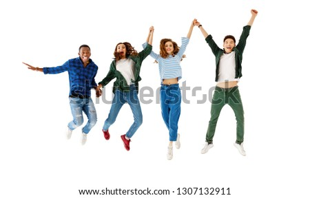 group of cheerful young people men and women multinational isolated on white background #1307132911
