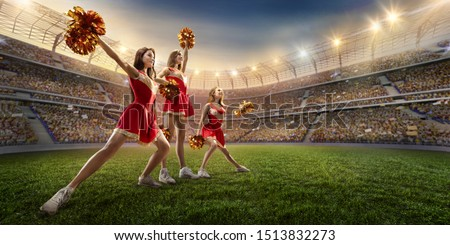 Group of cheerleaders in action on the professional stadium. ストックフォト ©
