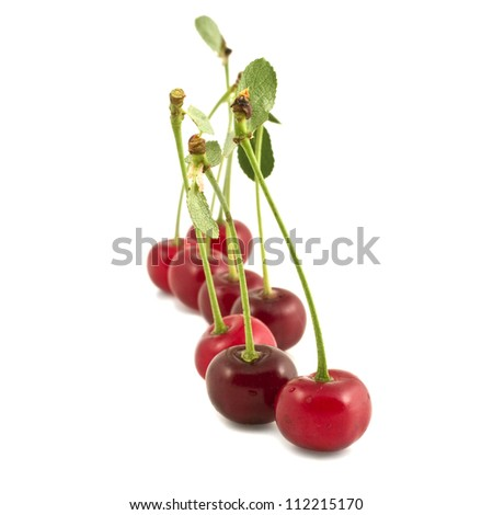 Group of cherries isolated on white