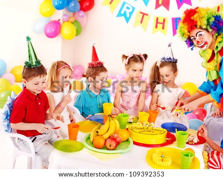 Group of child happy birthday party .