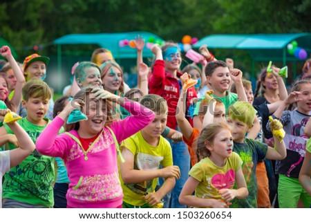 Group of children after the holiday paint Holi. Russia. Yaroslavl oblast, city Rybinsk, Matrosova camp. 18.07.2019 #1503260654
