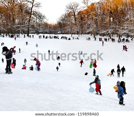 Group of children and adults playing in the snow. Park in the winter. The landscape.