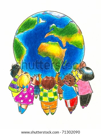 Group of children different races holding up the Earth.Picture I have created with colored pencils.