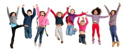 Group of children jumping isolated in white