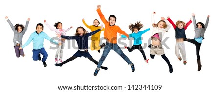 Group of children jumping isolated in white #142344109
