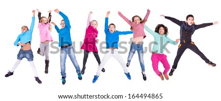 Group of children jumping isolated in white #164494865