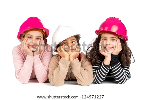 Group of children posing with protective helmets isolated in white