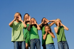 group of children shouting