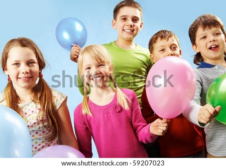 Group of children with balloons - stock photo