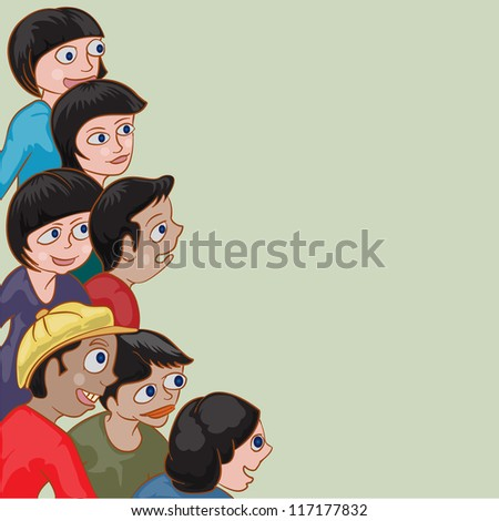 group of children with blank space for text