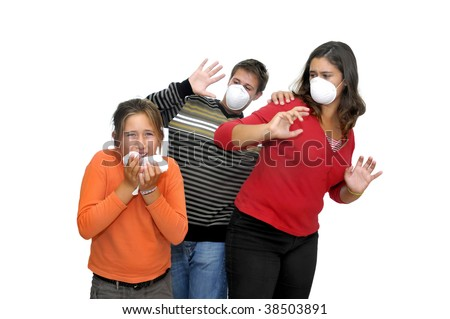 Group of children with masks against the flu and one already sick