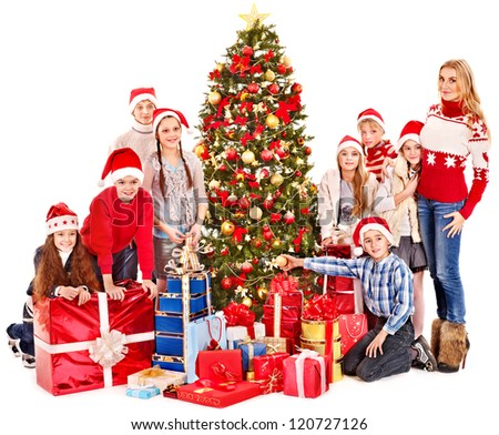 Group of children with mother Christmas tree.  Isolated.