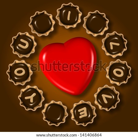 Group of chocolate praline with I love you text and red heart in the middle / I love you chocolate - stock photo