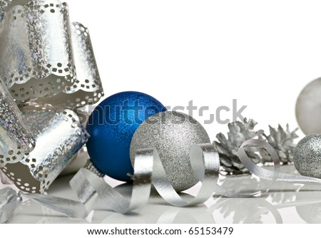 group of christmas decoration isolated on white