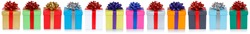 Group of christmas presents birthday gifts in a row isolated on white on a white background