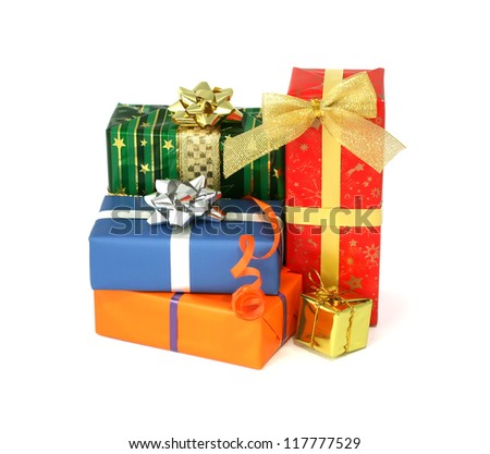 Group of christmas presents isolated on white background