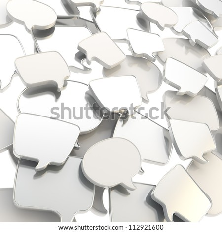 Group of chrome metal glossy speech text bubbles randomly placed as abstract copyspace business communication background