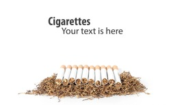 group of cigarettes  lay on heap of tobacco in white background. concept for narcotic, illness.