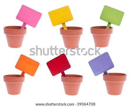 Group of 6 clay pots with various colored blank signs including pink, yellow, green, orange, red and purple.