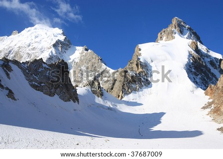 Group of climbers on the way to the top of the mountain Misses-tau. Northern array. Caucasus