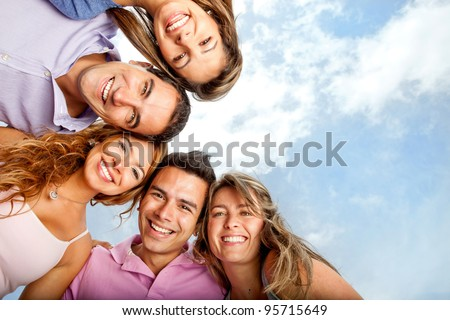 Group of close friends smiling looking very happy #95715649