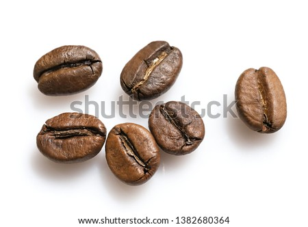 Group of coffee beans isolated on white background