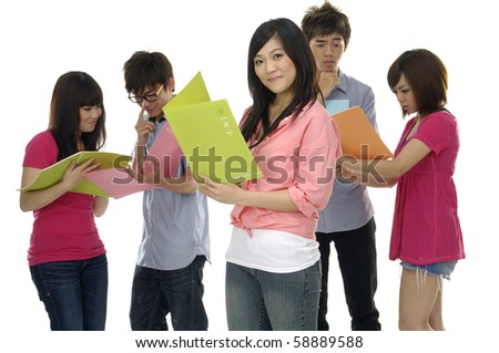 Group of college or university students focus on young smile woman