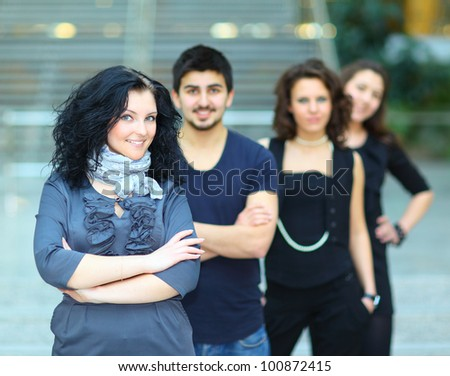 group of college students smiling