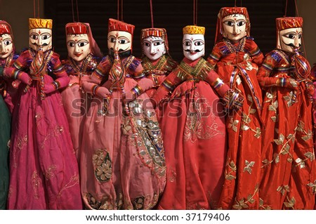 Group of coloful puppets in Jaipur, Rajasthan, India