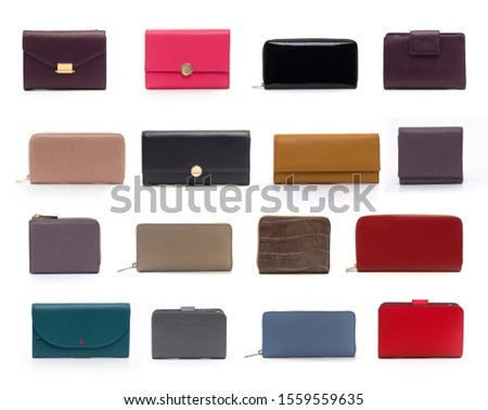 group of color women leather wallets isolated on white background Сток-фото ©