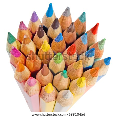 Group of colored pencils on the white