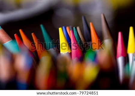 Group of colorful crayons closeup