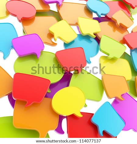 Group of colorful glossy plastic speech text bubbles randomly placed as abstract copyspace business communication background
