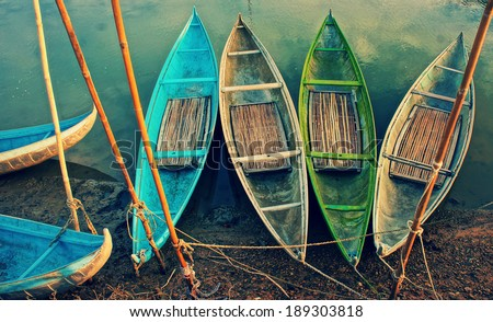 group of colorful rowing boat...