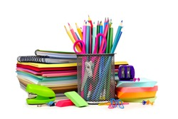 Group of colorful school supplies isolated on a white background