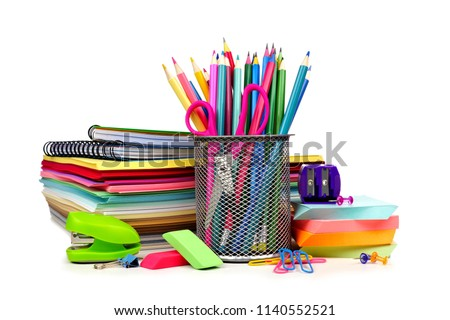 Group of colorful school supplies isolated on a white background Foto stock ©