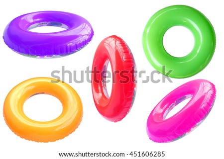 Group of colorful swim ring isolated on white background. ストックフォト ©