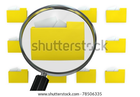 group of computer folders with a magnifying lens that find the right one (3d render)