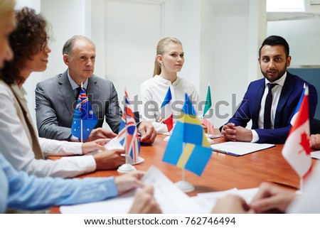 Group of confident politicians taking part in international event of political representatives #762746494