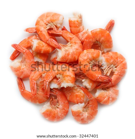 Group of cooked shrimps isolated on white background