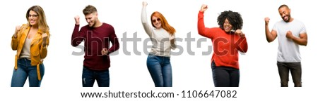 Group of cool people, woman and man happy and excited celebrating victory expressing big success, power, energy and positive emotions. Celebrates new job joyful #1106647082