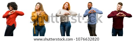 Group of cool people, woman and man happy showing love with hands in heart shape expressing healthy and marriage symbol #1076632820