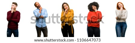 Group of cool people, woman and man thinking and looking up expressing doubt and wonder