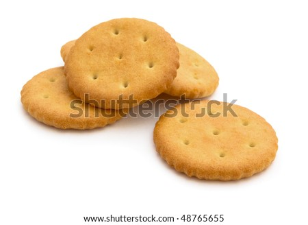 Group of crackers isolated on white - stock photo