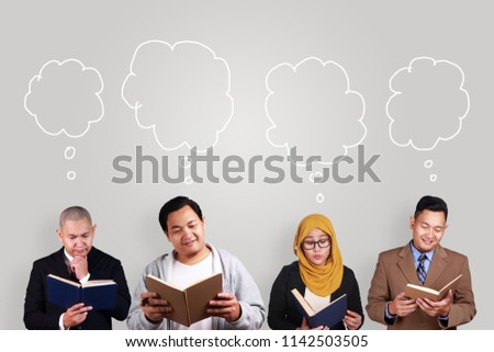 Group of creative people reading book and thinking of something, knowledge  self development concept