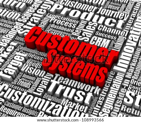 Group of customer systems related words. Part of a business concept series.
