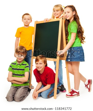 group of cute schoolboys and schoolgirls with blackboard isolated on white